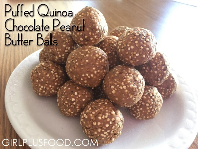 puffed quinoa chocolate peanut butter balls