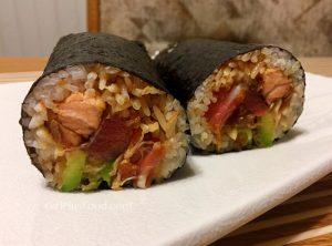 Sushi Burrito with Ahi Tuna, Seared Salmon, Crab, and Avocado